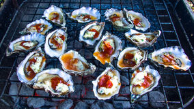 Grilled Oysters. Oysters are lying on the grill Stock Photo
