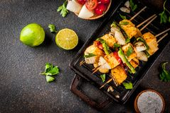 Grilled Paneer Tikka cheese kebab stock images