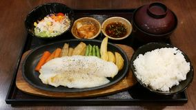 Grilled Pangasius dory fish with donburi set. stock image