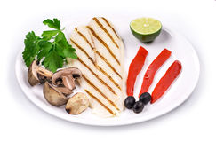 Grilled pangasius fillet on plate. Stock Image