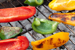 Grilled paprika. Colorful grilled peppers on a grill Royalty Free Stock Photo