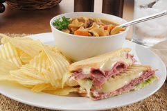 Grilled pastrami sandwich with soup Royalty Free Stock Photos