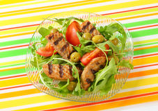 Grilled patty with fresh vegetable salad Stock Photo