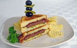 Grilled Patty Melt Sandwich Stock Images