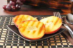 Grilled peaches. A plate of grilled peaches, a summertime food favorite Stock Photography