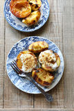 Grilled peaches served with whipped cream Stock Photos