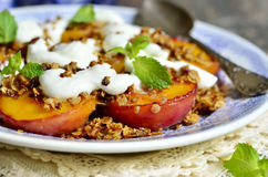 Free Grilled Peachs With Granola And Whipped Cream. Royalty Free Stock Photos - 58401468