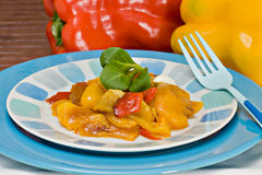 Grilled peppers. A dish with grilled peppers, an italian recipe Stock Image