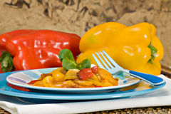 Grilled peppers. A dish with grilled peppers, an italian recipe Stock Photos