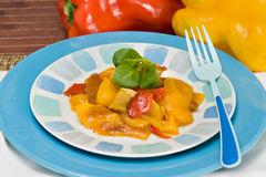 Grilled peppers. A dish with grilled peppers, an italian recipe Royalty Free Stock Image