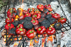 Grilled peppers. Grilled fresh red bell peppers Stock Photo