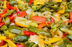 Grilled Peppers and Onions Stock Image