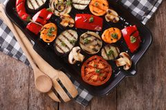 Grilled peppers, tomatoes, onions, eggplant horizontal top view Stock Images