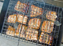 Grilled pieces of fish on the grill Stock Photos