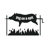 Grilled pig. Pig on spit. Roasting piglet. BBQ pork. Icon. Stock Photography