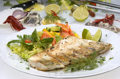 Grilled pikeperch Stock Photo