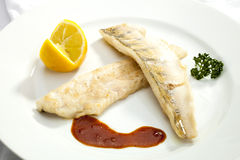 Grilled Pikeperch with lemon Royalty Free Stock Photography