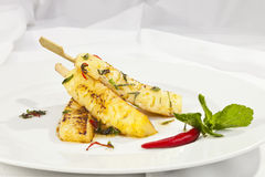 Grilled pineapple with honey Royalty Free Stock Photos