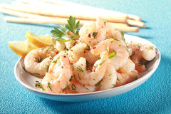 Grilled pink shelled marine prawns Stock Photography