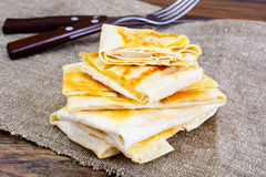 Grilled Pita Bread with Cheese Stock Image