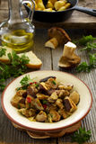 Grilled porcini mushrooms. With hot pepper Royalty Free Stock Photo