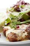 Grilled Pork. With Mashed Potato and Raw Vegetables Royalty Free Stock Photo