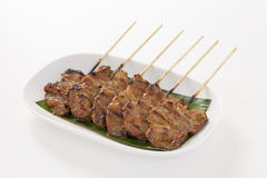 Grilled pork with bamboo stick royalty free stock photos