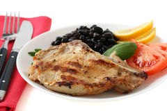 Grilled pork with beans Royalty Free Stock Photo