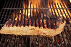 Grilled Pork  brisket and flames background  XXXL Royalty Free Stock Photography