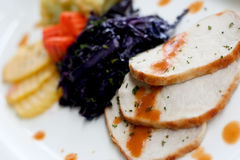 Grilled pork. With brown sauce on white plate Royalty Free Stock Photography