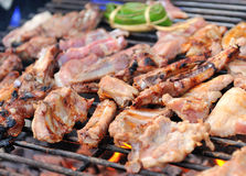 Grilled pork on charcoal Royalty Free Stock Photos