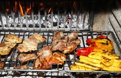 Grilled pork and chicken with peppers Royalty Free Stock Image