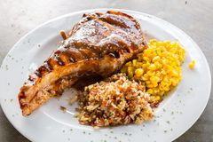 Grilled pork chop Stock Images