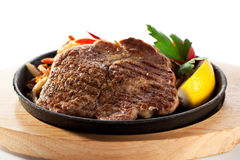 Grilled Pork Chop. (Neck Cut) with Pan-Fried Vegetable Stock Photos