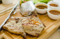 Grilled pork chop steak set Stock Images