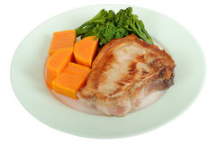 Grilled Pork Chop with Vegetables Meal Royalty Free Stock Photos