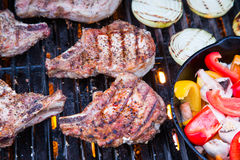 Grilled pork chops on BBQ Stock Photography