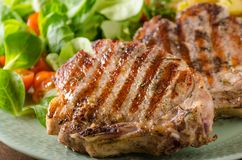 Grilled pork chops. With with salad and potato salad royalty free stock image