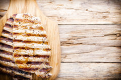 Grilled pork chops pieces. Spices and rosemary. Stock Photo
