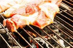 Grilled pork. Cooking bbq pork Stock Photos