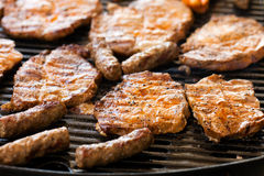 Grilled pork cutlets,on the grillage. Bbq, grilled pork cutlets,on the grillage Stock Image