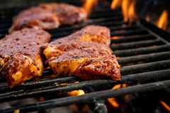 Grilled pork with flames on barbecue stock photography