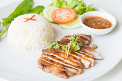 Grilled pork with garlic fried rice. Stock Images