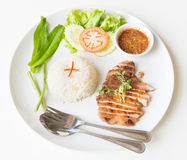 Grilled pork with garlic fried rice. Royalty Free Stock Image