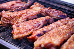 Grilled pork on the grill Royalty Free Stock Images