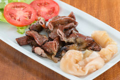 Grilled pork intestines. For food background Royalty Free Stock Photos