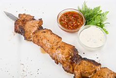 Grilled pork kebab Stock Photography