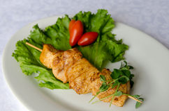Grilled pork kebab. Soft selective focus Royalty Free Stock Photo