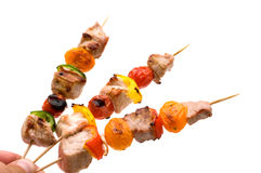 Grilled pork kebabs Stock Images