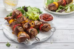 Grilled pork kebabs. With pepper and zucchini Royalty Free Stock Images